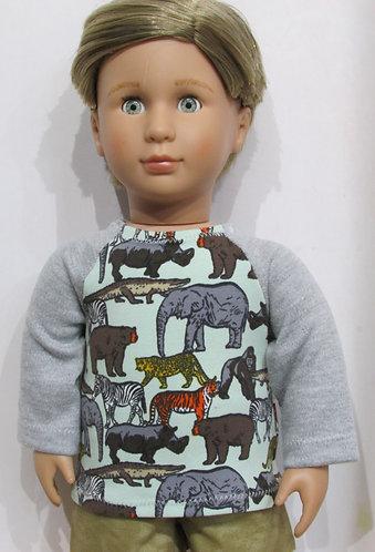 AG, OG Boy: Zoo Animal grey top, khaki shorts