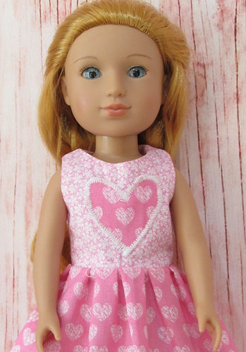 Glitter Girl or Wellie Wishers: Pink Hearts and Flowers Dress, bag
