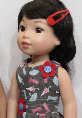 14.5 inch Glitter Girl or Wellie Wishers: Rainy Day Flowers Dress, bag