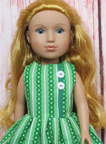 Glitter Girl or Wellie Wishers: Green Spots and Stripes Dress, bag