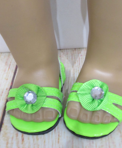 "Shoes for 18"" dolls: bright lime green sandals"