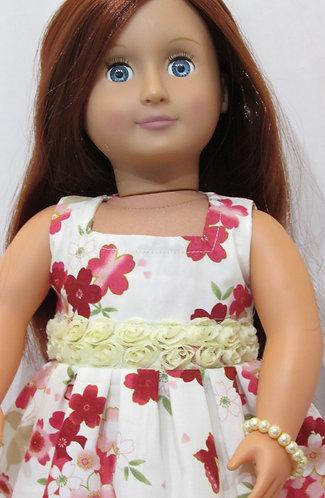 American Girl, Our Generation doll: Cream & Wine Blossom Dress set