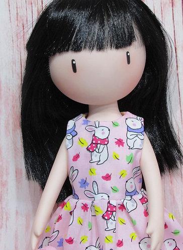 Paola Reina, Gorjuss doll 32cm: Pink Bunnies Dress and Bag