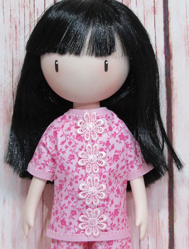 Paola Reina, Santoro Gorjuss dolls 32cm: Pyjamas, Pink Flowers pjs