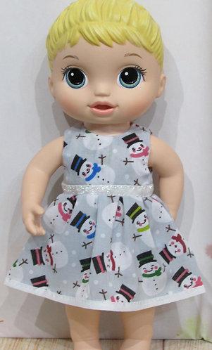 "12"" Baby Alive doll: Christmas Snowmen Dress, matching panties"