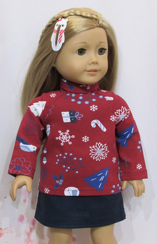 American Girl, Our Generation:  Christmas poloneck, navy skirt
