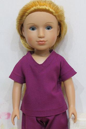 14.5 inch Glitter Girl or Wellie Wishers: Plum Purple Scrubs, rainbow bag