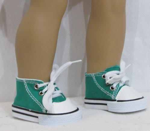 """Shoes for 18"""" dolls: Green Trainers with white trim"""