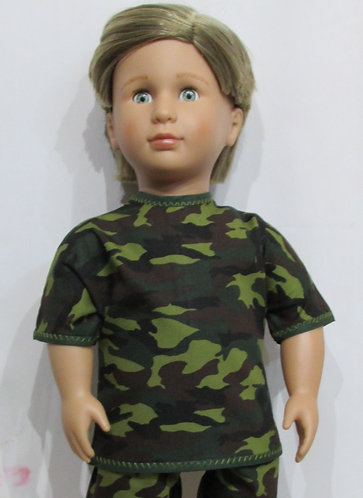 AG, OG Boy: Green Forest Camouflage Top, matching trousers