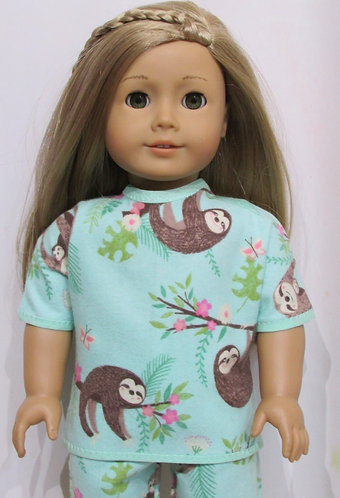 American Girl or Our Generation: Cuddly Sloth Pyjamas, PJs, green slippers