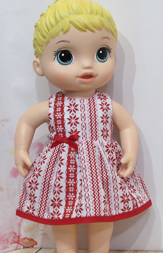 """12"""" Baby Alive doll: Christmas Nordic Red Dress, matching panties"""