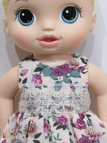 """12"""" Baby Alive doll: Rose Lace Party Dress, matching panties"""