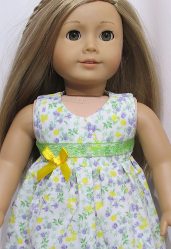 American Girl or Our Generation:  Long Spring Flower Nightie, yellow slippers