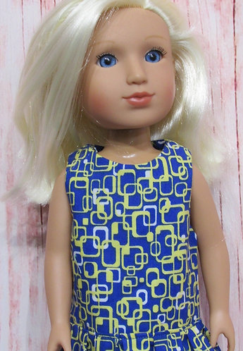 Glitter Girl or Wellie Wishers: Blue Geometric Dress, bag