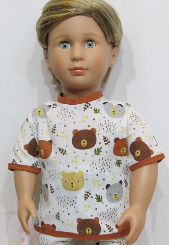 AG, OG Boy: Pyjamas, brown  teddy bears, pjs