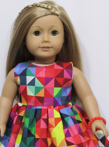 American Girl, Our Generation: Red Bright Geometric Dress set