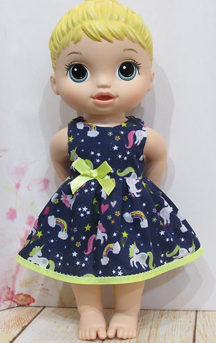 "12"" Baby Alive doll: Navy & Lemon Unicorns Dress, matching panties"