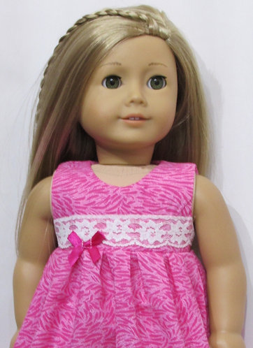 American Girl or Our Generation:  Long Pink Nightie, pink slippers