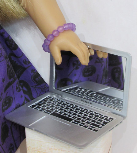 """Silver Laptop for any 18"""" play doll"""