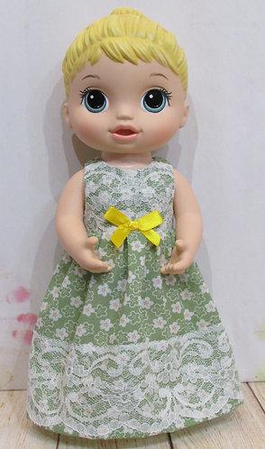 "12"" Baby Alive doll: Green Flower Lace Nightie"