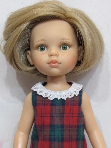 Paola Reina 32cm: Tartan Dress with lace collar and Bag