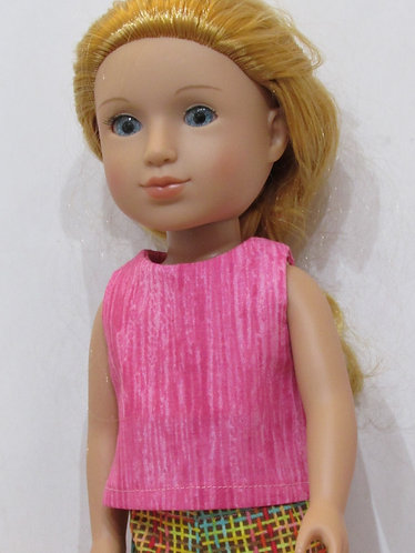 14.5 inch Glitter Girl, Wellie Wishers: Pink top, check trousers