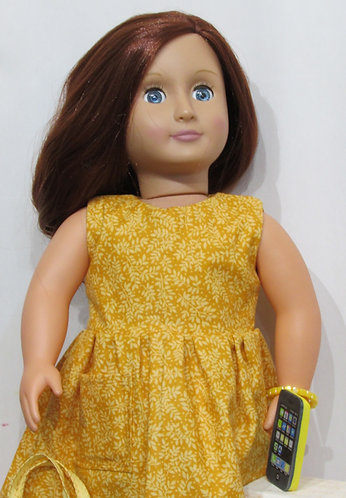 American Girl, Our Generation: Golden Leaves Dress Set with phone