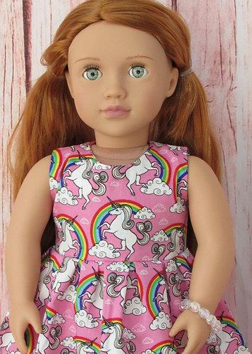 American Girl, Our Generation:  Pink Rainbow Unicorn Dress Set