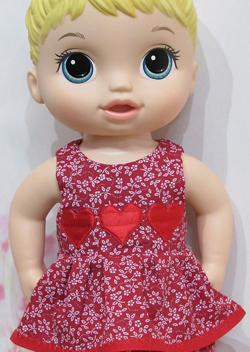 "12"" Baby Alive doll: Red Flowers & Hearts Top and Trousers"