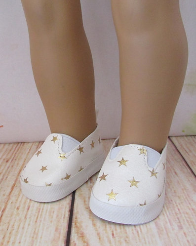 "Shoes for 18"" dolls: White & Gold Star Slip-On Shoes"