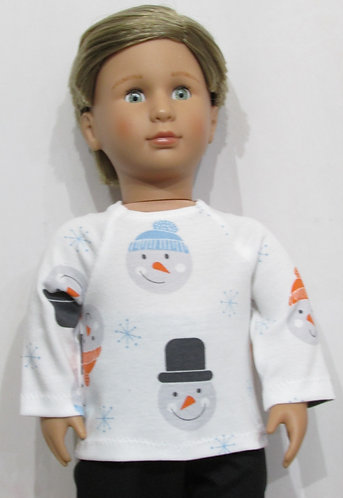AG, OG Boy: Happy Snowman top, black jeans