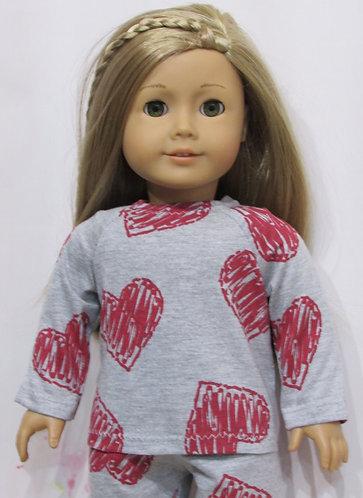 American Girl or Our Generation: PJs, Grey Heart Pyjamas