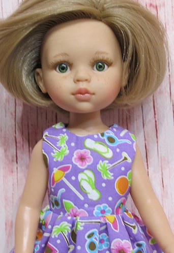 Paola Reina, Gorjuss doll 32cm: Lavender Summery Dress and Bag