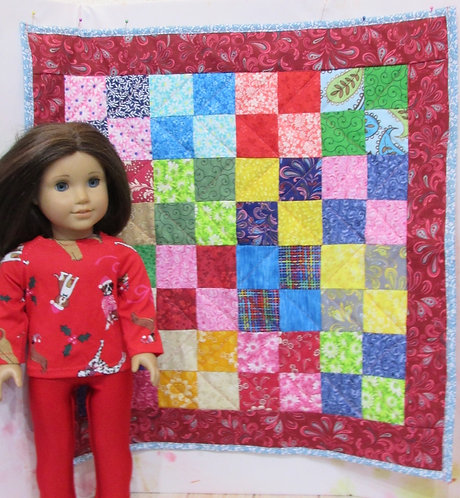 "Doll-sized Quilt for 18"" sized dolls, 4 patch, dark red"