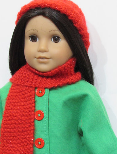 American Girl, Our Generation: Green and Red Coat Set including leggings
