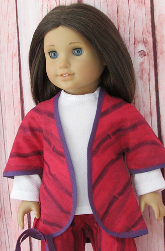 American Girl, Our Generation:  Red & Purple Kimono Jacket, Trousers, Top, Bag
