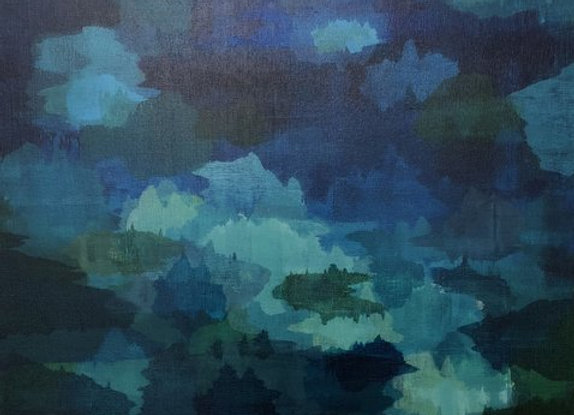 acrylic blue abstract Into The Night art painting