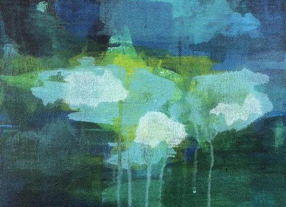 Precipitation 2 acrylic blue abstract landscape art painting