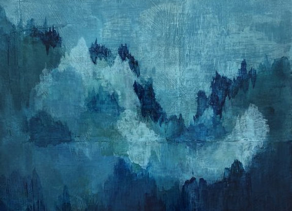 acrylic blue green rising mist abstract landscape art painting
