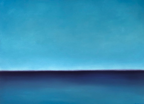 pastel blue abstract ocean art painting