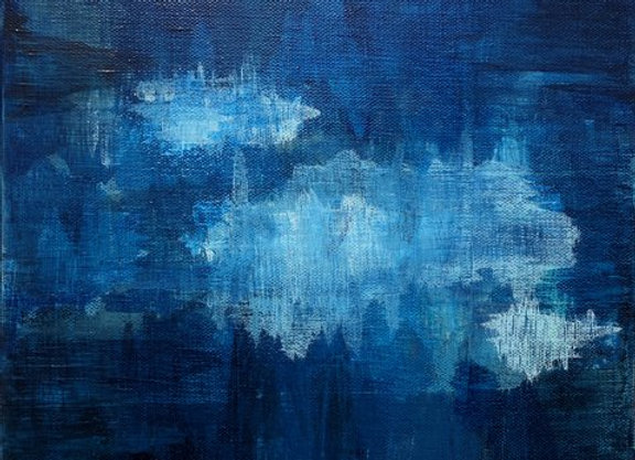 Submerge 2 acrylic blue abstract landscape art painting