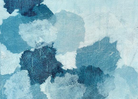 acrylic blue abstract rain drops art painting