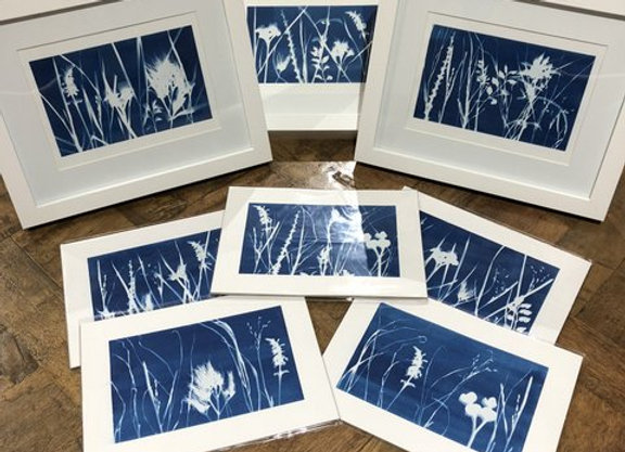 cyanotype blue abstract landscape floral art painting