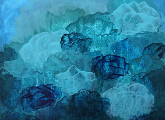 acrylic blue abstract nature's nest art painting