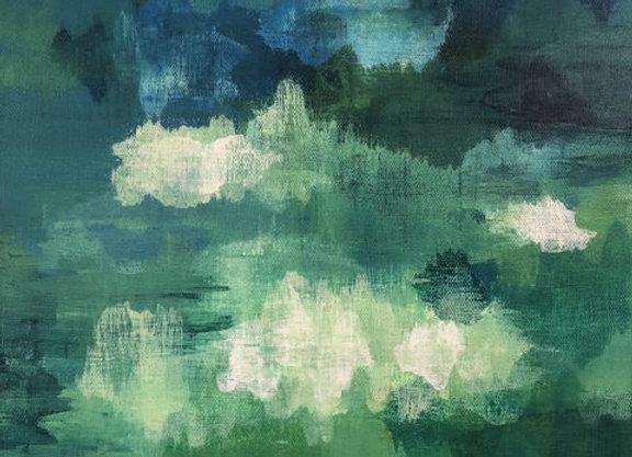 acrylic Caldera Green abstract landscape art painting