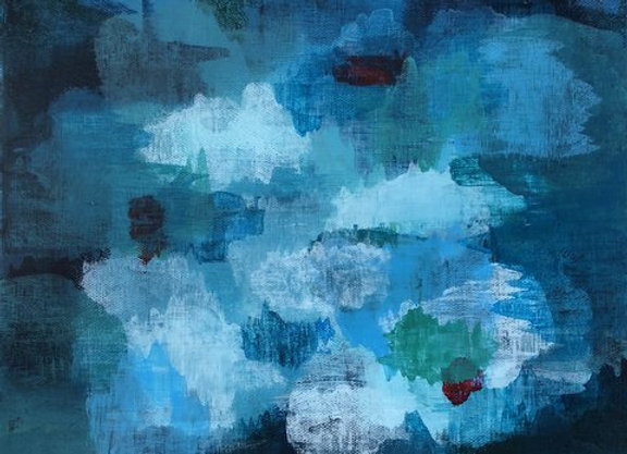 acrylic 2 blue abstract landscape art painting