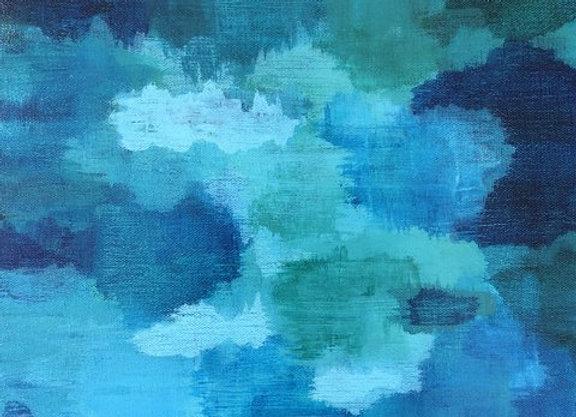 Floating blue Acrylic art painting