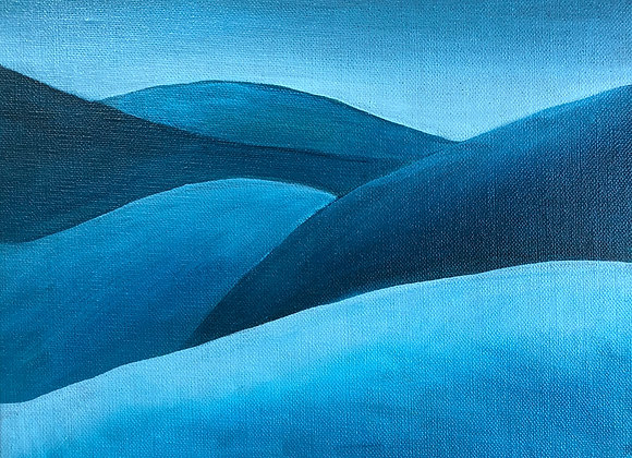 Imagined Blue oil on acrylic landscape art painting