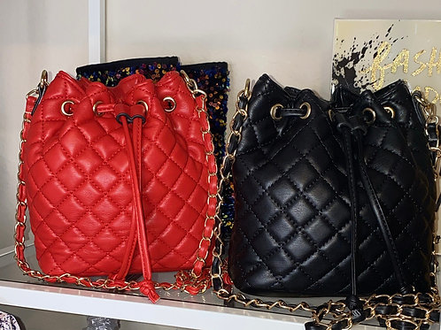 Quilted Drawstring Bucket Chain Crossbody Bag