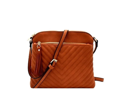 Smooth Quilted Chevron City Crossbody Bag